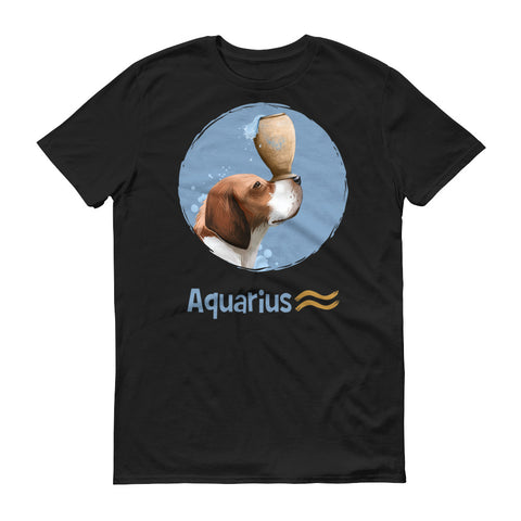 Image of Generous Aquarius Dog Short-Sleeve Dark T-Shirt