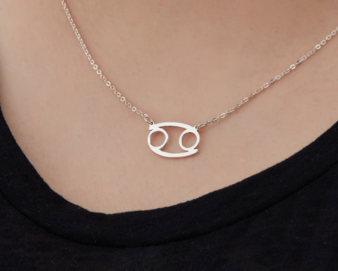 Image of Custom Handmade in Bali, Indonesia Solid, Pure Silver Horoscope Pendant (with 16-inch chain) Necklace (CANCER)