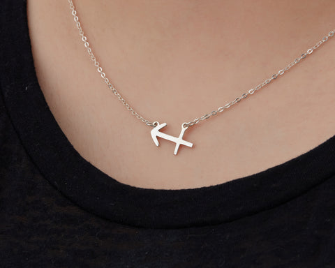 Image of Custom Handmade in Bali, Indonesia Solid, Pure Silver Horoscope Pendant (with 16-inch chain) Necklace (SAGITTARIUS)