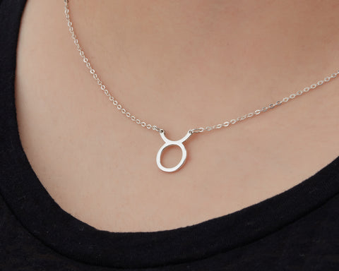 Image of Custom Handmade in Bali, Indonesia Solid, Pure Silver Horoscope Pendant (with 16-inch chain) Necklace (TAURUS)