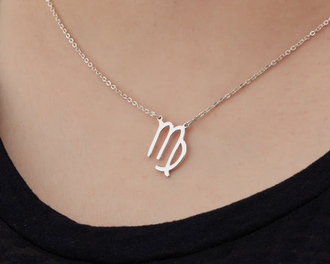Image of Custom Handmade in Bali, Indonesia Solid, Pure Silver Horoscope Pendant (with 16-inch chain) Necklace (VIRGO)