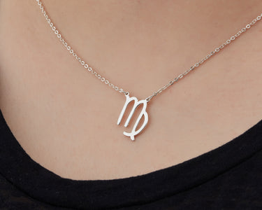 Custom Handmade in Bali, Indonesia Solid, Pure Silver Horoscope Pendant (with 16-inch chain) Necklace (VIRGO)