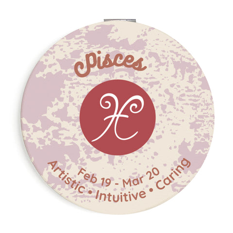 Custom Printed Pisces Star Sign Compact Foldable Mirror