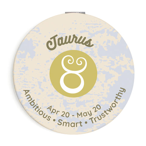 Image of Custom Printed Taurus Star Sign Compact Foldable Mirror