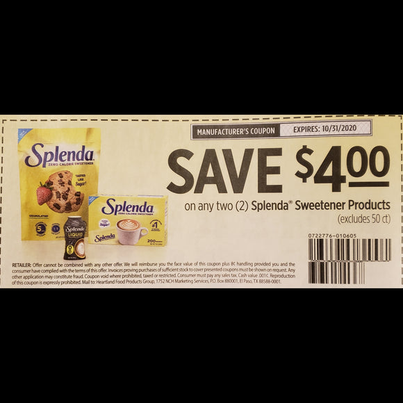 Splenda Sweetener (FS) - SET OF 10