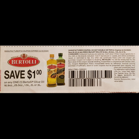 Bertolli Olive Oil - SET OF 10