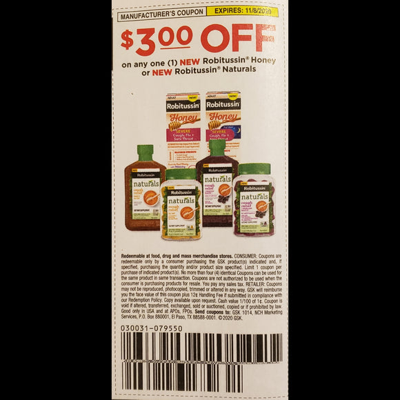EXPIRED Robitussin Honey / Naturals - SET OF 10