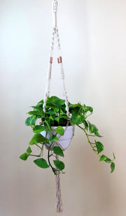 Macrame hanger; double twist with copper
