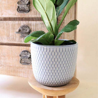 Ceramic ripple pot - ice