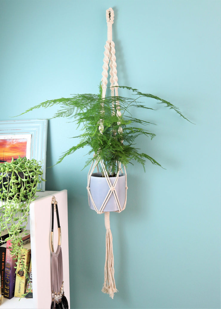 Macrame hanger; natural double twist