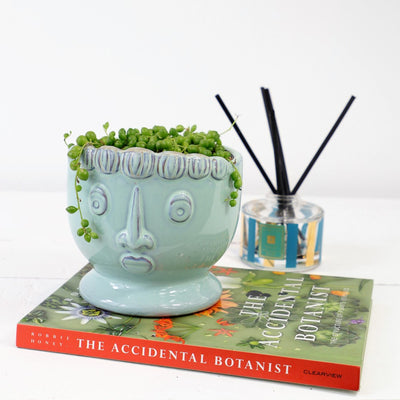 Head planter with String of Pearls