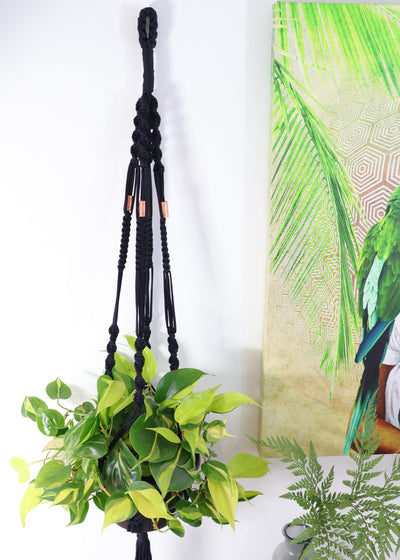 Macrame hanger; black double twist with copper