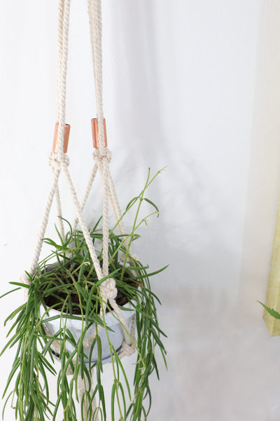 Macrame hanger; natural single twist with copper
