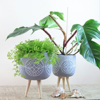 Grey tripod lotus pot