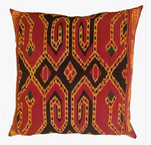 Ikat Pillow Cover, Red. Cover Only with No Insert. 24inches x 24inches