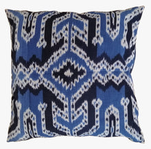 Load image into Gallery viewer, Ikat Pillow Cover, Blue. Cover Only with No Insert. 24inches x 24inches