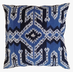 Ikat Pillow Cover, Blue. Cover Only with No Insert. 24inches x 24inches