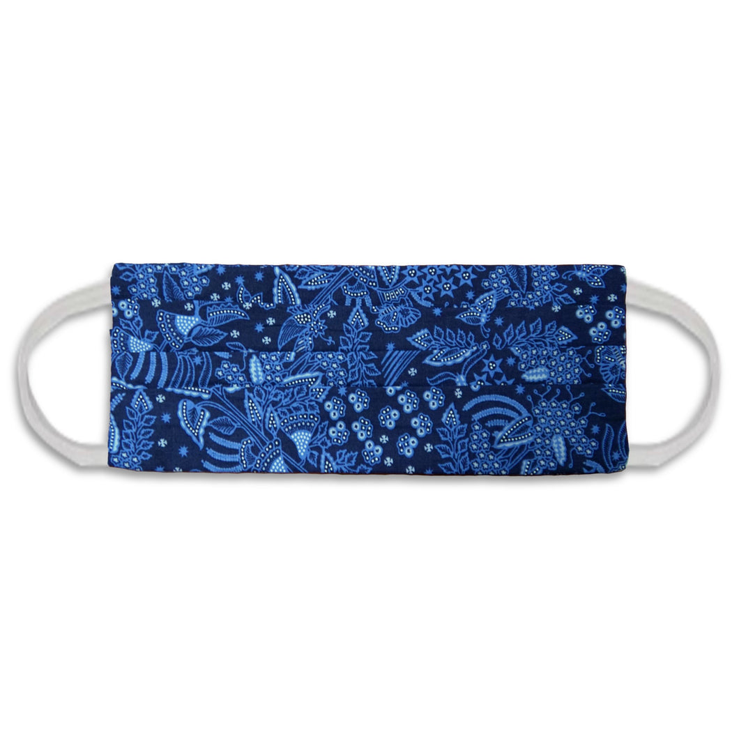 Rectangle Batik Face Mask with Insert Pocket - Blue