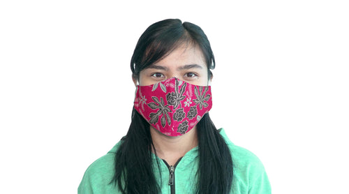 Bali Collection Batik Face Mask - Red