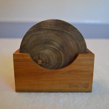 Load image into Gallery viewer, Handmade Teak Wood Coaster Set of Four - Round