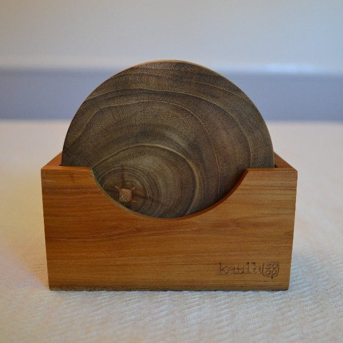 Handmade Teak Wood Coaster Set of Four - Round