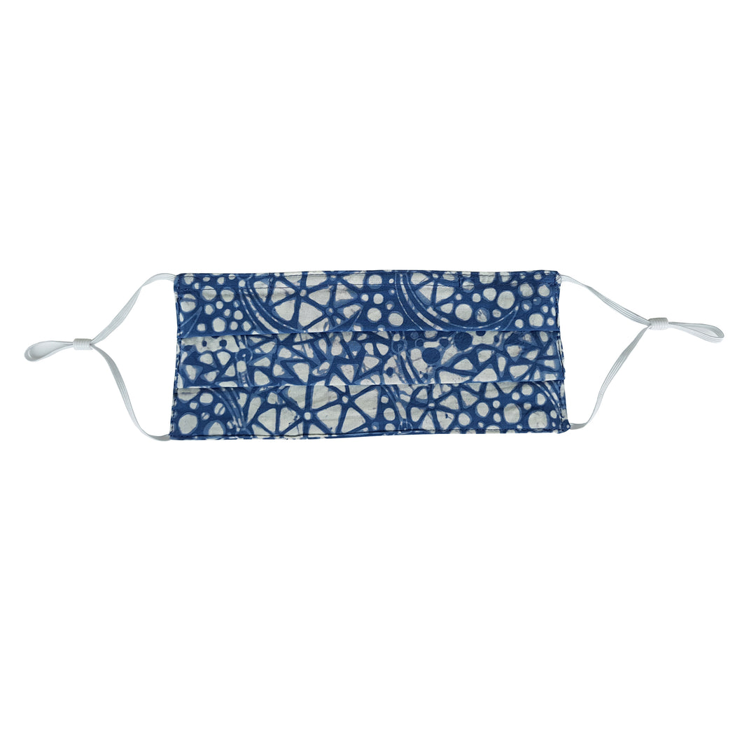 Kids Rectangle Batik Face Mask - Light Blue