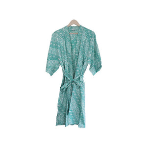 Hand-stamped Batik Robe/ Kimono - Cotton - Royalty