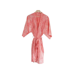 Hand-stamped Batik Robe/ Kimono - Cotton - Wildflower