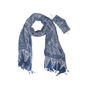 Batik Gili Face Covering & Shawl Set - Stone