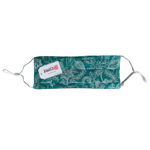 Lombok Collection Rectangle Batik Face Covering - Foliage in Green