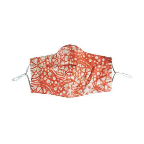 Gili Collection Batik Face Covering - Stone in Coral