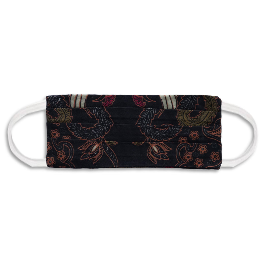 Rectangle Batik Face Mask with Insert Pocket - Black
