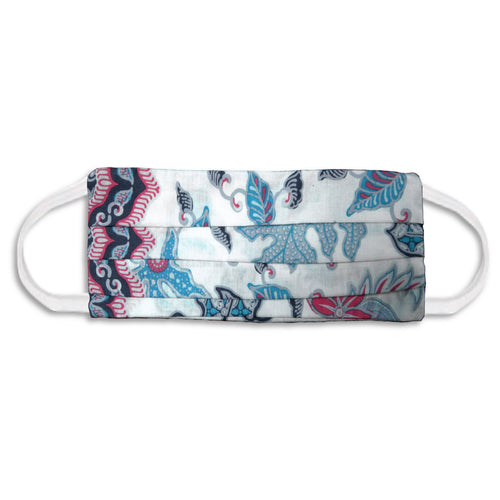 Rectangle Batik Face Mask with Insert Pocket - Blue & Pink