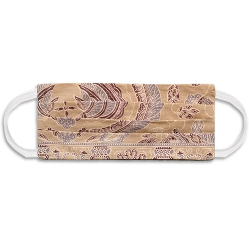 Rectangle Batik Face Mask with Insert Pocket - Cream