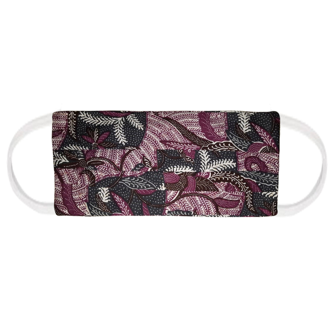 Rectangle Batik Face Mask with Insert Pocket - Purple
