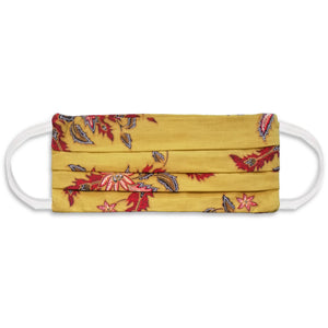 Rectangle Batik Face Mask with Insert Pocket - Yellow Mustard