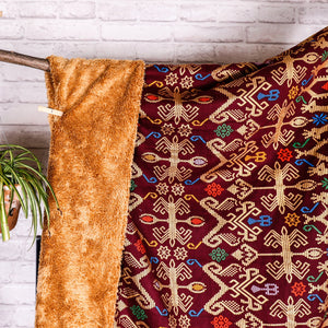Ikat Blanket Throw, Maroon from Bali, Indonesia