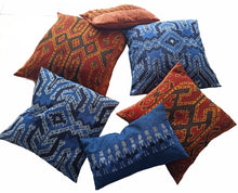 Load image into Gallery viewer, Ikat Pillow Cover, Blue. Cover Only with No Insert. 20inches x 20inches