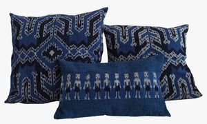 Ikat Pillow Cover, Blue. Cover Only with No Insert. 12inches x 20inches