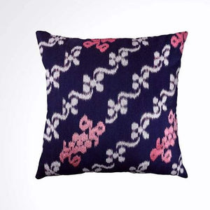 Ikat Pillow Cover, Pink & Blue. Cover Only with No Insert. 20x20 inches