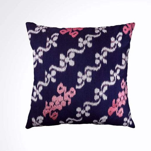 Ikat Pillow Cover, Pink & Blue. Ethnic, Boho Cushion Case. Handwoven in Indonesia. 20x20 inches