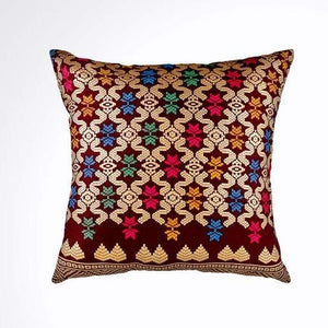Ikat Pillow Cover, Burgundy Red and Gold. Ethnic, Boho Cushion Case. Handwoven in Indonesia. 16x16 inches
