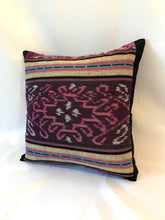 Load image into Gallery viewer, Ikat Pillow Cover, Pink and Purple. Ethnic, Boho Cushion Case. Handwoven in Indonesia. 16x16 inches