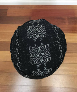 Round Ikat Pouf Ottoman, Black and White. Cover Only with No Insert. 20W x 13.5H