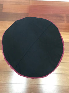 "Round Ikat Pouf Ottoman, Red. Cover Only with No Insert. 20"" inches W x 13.5 inches H"