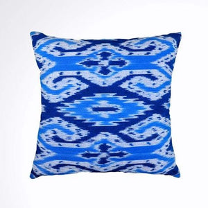 Ikat Pillow Cover, Blue. Cover Only with No Insert. 16inches x 16inches