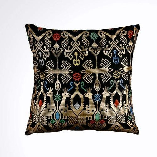 Batik, Ikat Pillow Cover, Black & Gold. Ethnic, Boho Cushion Case. Handwoven in Indonesia. 20x20 inches