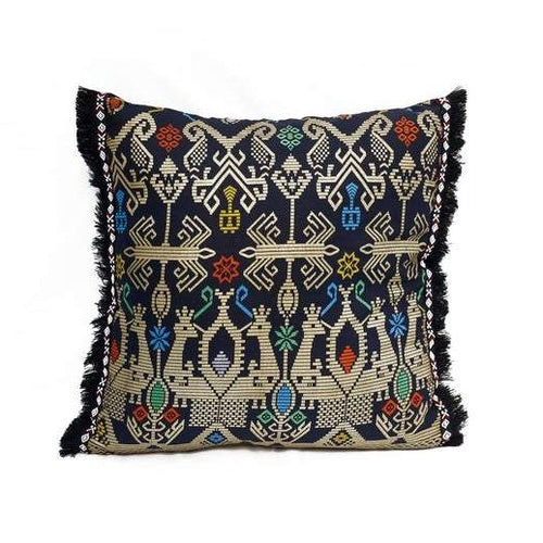 Batik, Ikat Pillow Cover, Black & Gold with Black Fringe. Ethnic, Boho Cushion Case. Handwoven in Indonesia. 20x20 inches