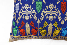 "Load image into Gallery viewer, Ikat Pillow Cover, Black and Blue. Cover Only with No Insert. 16"" x 16"""