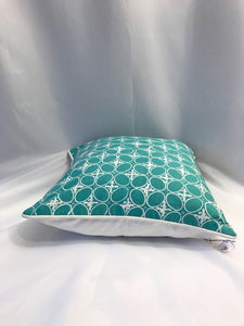 "Batik Pillow Cover, Greenish Blue. Ethnic, Boho Cushion Case. Handwoven in Indonesia. 20"" x 20"""